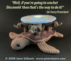 I rarely pin patterns that are not free, but June's work is so beautiful that I can't resist sharing it:  Amigurumi Discworld by PlanetJune