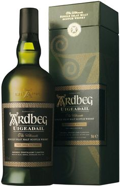 "Ardbeg Uigeadail (Named after Ardbeg's unique water source; was named ""Whisky of the Year"" by the Whisky Bible. Whiskey Drinks, Cigars And Whiskey, Scotch Whiskey, Irish Whiskey, Bourbon Whiskey, Whiskey Room, Ardbeg Whisky, Whisky Single Malt, Spiritus"