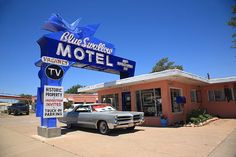 "Route 66. Blue Swallow Motel in Tucumcari, New Mexico, on old Rt. 66. ""The Fine Art Photography of Frank Romeo."""