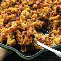 Andouille Cornbread Dressing - If you haven't tried Andouille, you're in for a real treat. This flavorful sausage is a great addition to any recipe. Try a kicked-up dressing using andouille and cornbread. Emeril Lagasse Recipes, Stuffing Recipes, Cornbread Stuffing, Cornbread Recipes, Cajun Cornbread Dressing Recipe, Turkey Recipes, Casserole Recipes, Creole Recipes, Le Diner