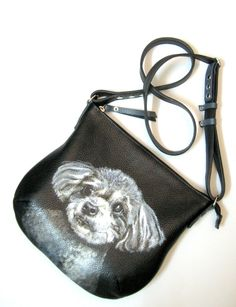 Personalized leather purse with a portrait of your pet. This hand-painted purse was made to order. If you want to have a portrait of your favorite