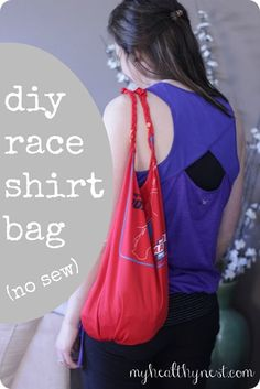 Easy DIY race shirt bag tutorial (no sew) >same idea as the others I've seen, but braids the handles.