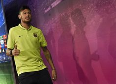 Barcelona's Brazilian forward Neymar da Silva Santos Junior gestures after a press conference at the Sports Center FC Barcelona Joan Gamper in Sant Joan Despi, near Barcelona on October 20, 2014 on the eve of their UEFA Champions league football match FC Barcelona vs Ajax.