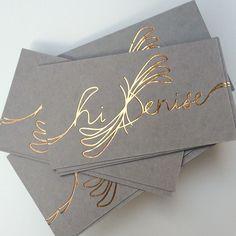 rose/copper foil #business cards printed on gray cotton paper lilikoi-design.com