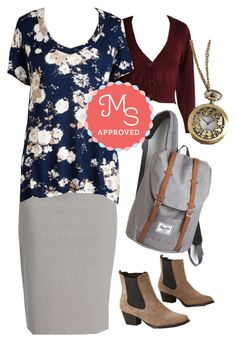 """Just Because Tee in Navy"" by modcloth ❤ liked on Polyvore featuring Herschel Supply Co., BackToSchool, outfit, modcloth and separates"
