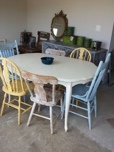 Mismatched Dining Chairs white distressed dining table with mismatched chairs | home