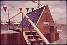 This is a demonstration unit of a backyard solar heating unit built by the Sunglow Corporation. Lakewood Colorado, Still Picture, Photo Maps, Solar Water, Water Heating, National Archives, Natural Resources, Outdoor Gear, Tent