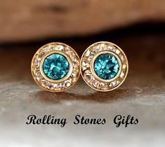 Blue Zircon 9mm Swarovski Surrounds Rhinestone by rostone on Etsy