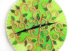 Green Foliage Glass Clock FREE WORLDWIDE DELIVERY by GlasssMagic
