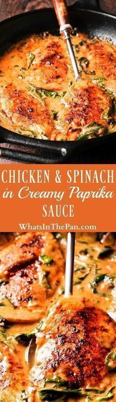Low carb as is. Chicken and Spinach in Creamy Paprika Sauce is an easy to make one-pan dish that is amazing in flavor from dry white wine and sauteed garlic. The delicious paprika sauce is creamy and buttery, with a mild tang from the fresh lemon juice. Paprika Sauce, Turkey Recipes, Chicken Recipes, Dinner Recipes, Paleo Dinner, I Love Food, Good Food, Yummy Food, Eat This