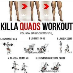KILLA QUADS WORKOUT Related posts:The 3 Exercise Workout For Strong And Powerful GlutesChest training and correct executioncorrectnes workout exercisesRead More → Leg Workouts For Men, Gym Workout Tips, Butt Workout, Easy Workouts, Workout Videos, Hamstring Workout, Workout Women, Training Workouts, Workout Challenge