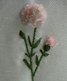 Silk Ribbon Embroidery: Tutorial- Carnations in Silk Ribbon Embroidery