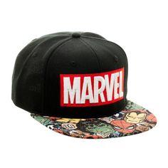Details about Marvel Text Logo Halftone Retro Style Vintage Black Snapback  Hat 76c9295a015e