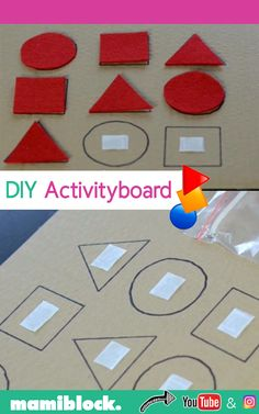 DIY Filz Activityboard für Jährige selbstgemacht DIY felt activity board for year olds: The felt DIY activity board is a great activity for toddlers aged 2 to 3 years. It is super quickly self-made and has a great learning effect in discovering shapes. Motor Skills Activities, Preschool Learning Activities, Preschool Activities, Activities For 4 Year Olds, Kindergarten Learning, Gross Motor Skills, Toddler Crafts, Crafts For Kids, Craft Kids