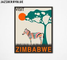 Large GICLEE Fine Art Print, African Travel Poster pop art for the home wall decor (13x16) VISIT ZIMBABWE