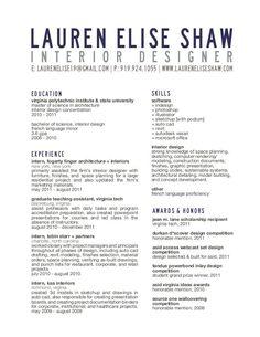 interior design resume cover letter   cv   pinterest   interior    resume  title block