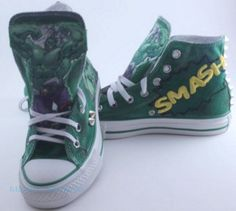38ad6c60488ca5 Customized Hulk Converse Shoes  Customized by RestyledCreations