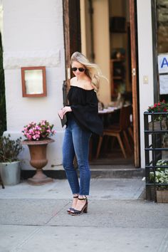 OFF THE SHOULDER BELL SLEEVE TOP - Styled Snapshots, yumi kim, west village, nyc, ruffle top