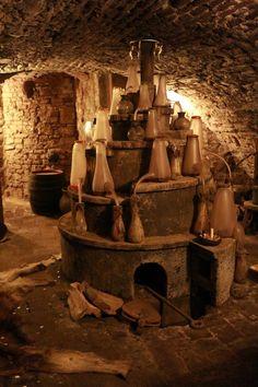 Inside an ancient alchemy laboratory; Speculum Alchemiae. In Prague lab is…