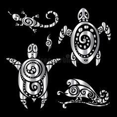 Turtle and Lizards. Polynesian tattoo style. Turtle and Lizards. Tribal pattern. Polynesian tattoo style Vector illustration vector illustration Polynesian Tattoo Sleeve, Polynesian Tattoo Designs, Tribal Tattoo Designs, Tribal Tattoos, Sleeve Tattoos, Wrist Band Tattoo, Tattoo Bracelet, Tattoo Set, Half Sleeve Tattoo Template