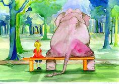 Elephant and zosia - watercolour illustration by art-ori.deviantart.com on @DeviantArt