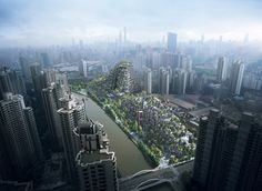 This unique urban design has been conceived as a piece of topography, taking the form of tree-covered mountains situated in the heart of Shanghai's art district.