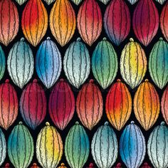 Watercolor cocoa fruits seamless pattern. Hand drawn exotic cacao plants in…