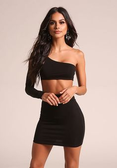 Black Two Piece One Shoulder Bodycon Dress Trendy Dresses, Sexy Dresses, Nice Dresses, Short Dresses, Fashion Dresses, Bodycon Dress Short, Sophia Miacova, Junior Outfits, Sexy Outfits
