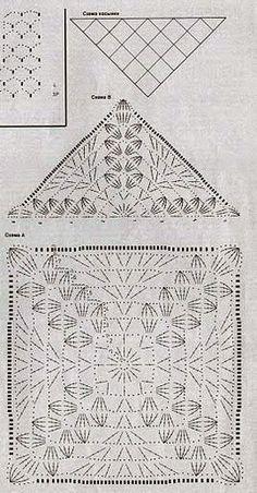 أنامل: بترون شال كروشيه ابيض على شكل مثلث
