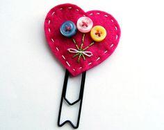 bookmarks, craft, button heart, heart bouquet, bouquets, bouquet paperclip, buttons, button bookmark, paperclip bookmark