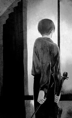 Now I'm reading a very interesting book and one of my favourite characters is the Sad King. I really like his manners and how he acts with people.  So, when I saw this art I thought about him- the Sad King, the wise violinist...
