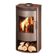 POD Twelve wood burning stove. The Pod Twelve has a steel body giving a maximum of 10kw of heat with a nominal output of 7kw. A contemporary design with a large ceramic curved glass front giving an excellent view of the fire, the stove is beautifully styled. The stove has a log store under the fire chamber. The stove is available in matt brown. Internally it's fully lined with firebricks.