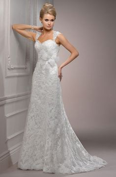 Maggie Sottero :: Sweetheart A-Line Wedding Dress with No Waist/Princess Seams in Lace. Bridal Gown Style Number:32366635