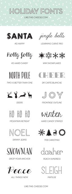 16 free holiday or Christmas fonts including frontage outline, Deers and KG Hard Candy.
