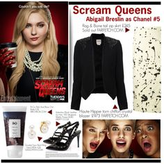 Scream Queens by anitadanako on Polyvore featuring moda, Haute Hippie, rag & bone, Valentino, Kenneth Jay Lane, Sophie Bille Brahe and R+Co