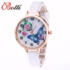Printing Butterfly Brand Quartz Women Watch Luxury leather Bracelet Wristwatches Female Ladies Crystal Clock Rhinestone Relogio - Online Shopping for Watches
