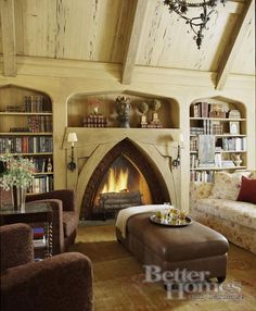 Awesome fireplace in this library room