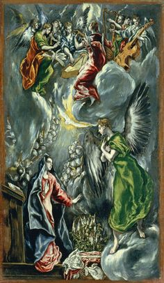 El Greco - La Anunciacion, 1600 at Museo Nacional del Prado Madrid Spain Période manièriste (fin de la renaissance italienne) Spanish Painters, Spanish Artists, Catholic Art, Religious Art, Renaissance Espagnole, Renaissance Kunst, Kunst Online, Archangel Gabriel, Desenho Tattoo