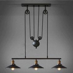 vintage Kitchen lamp with wheels retro black Wrought Iron Chandelier ...