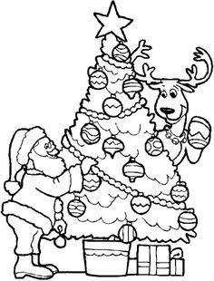 christmas tree and santa coloring page