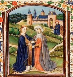 The Visitation: Mary meets St Elisabeth; Zacharias is seated. The Bible, Paris, c. 1250-1300, Koninklijke Bibliotheek, the Hague