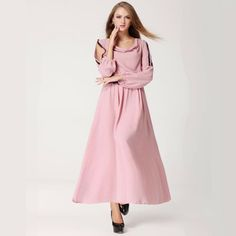 2014 New Spring and Autumn Long-Sleeve  Plus Size  Jumpsuit Full Chiffon Swing Dress $29.99