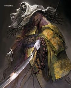View an image titled 'Corrupted Monk Art' in our Sekiro: Shadows Die Twice art gallery featuring official character designs, concept art, and promo pictures. Ronin Samurai, Samurai Art, Dark Fantasy Art, Dark Art, Monsters Rpg, Mago Anime, Arte Dark Souls, Character Art, Character Design