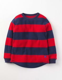 Mini Boden Waffle Stripe T-shirt Explorer Red/Navy Boys Bright stripes look great on a T-shirt, dont you agree? The 100% cotton waffle fabric is toasty warm and great for outdoor adventuring when its chilly. Wear it on its own with jeans, or layer it over  http://www.MightGet.com/january-2017-13/mini-boden-waffle-stripe-t-shirt-explorer-red-navy-boys.asp