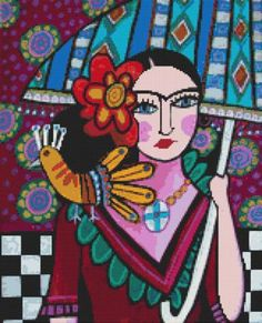 Frida Kahlo Cross stitch kit by Heather Galler 'Mexican - Frida Kahlo', counted crossstitch, modern cross stitch