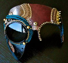 Leather Mask Steampunk with Gears and Goggle  by OcultoSteamMasks