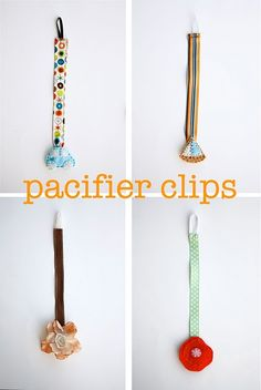 Pacifier Clips - Great idea with the decoration hiding the clips! Also a money saving tip, purchase ironing board clips at Dollar Tree!