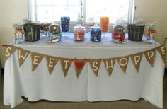 rustic wedding candy bar with handpainted burlap banner <3