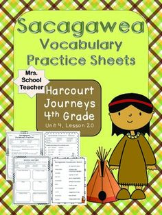 Sacagawea: Journeys Vocabulary Worksheets, designed to help students ...