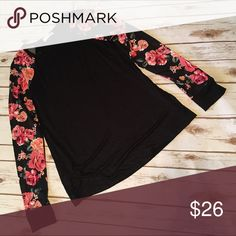 Floral sleeve top NEW floral sleeve top. True to size. Would be super cute under a vest to showcase the sleeves Tops Tees - Long Sleeve
